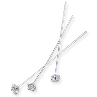 Swarovski 1-½ Inch Rhodium Plated Head Pin with 3mm Crystal Chaton (2-Pcs)