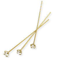 Swarovski 1-½ Inch Gold Plated Head Pin with 3mm Crystal Chaton (2-Pcs)