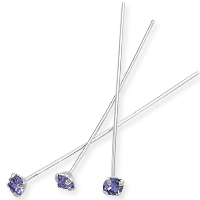 Swarovski 1-½ Inch Rhodium Plated Head Pin with 3mm Tanzanite Chaton (2-Pcs)