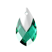 Swarovski 6565 18mm Emerald Metallic Cap Pear Shape Pendant (1-Pc)