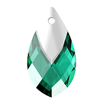 Swarovski 6565 22mm Emerald Metallic Cap Pear Shape Pendant (1-Pc)