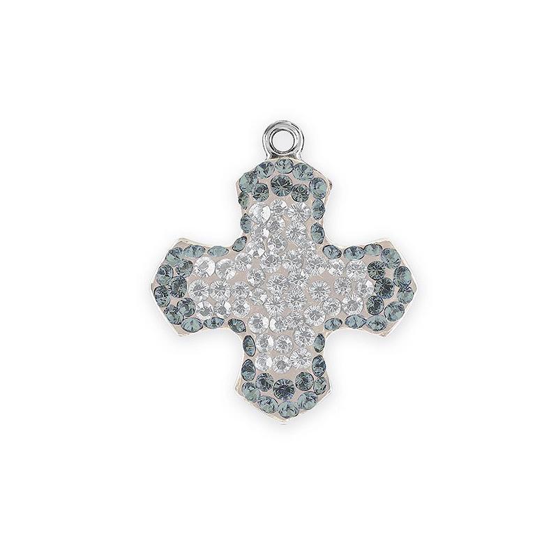 2cced47c82d99 Swarovski Pavé Greek Cross Pendant 67432 14mm Black Diamond/Crystal Rhodium  Plated (1-Pc)