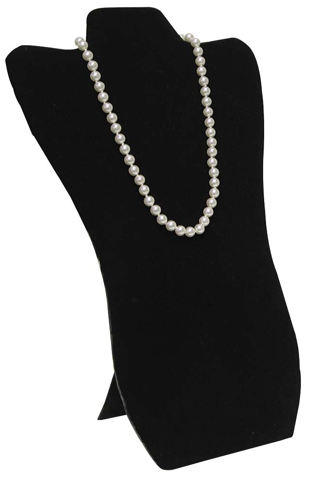 Exhibition Stand Jewelry : Necklace display tall black velvet faux