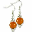 Tibetan Earrings 38x11mm Amber Resin/Brass (1-Pair)