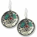 Tibetan Earrings 65x41mm Turquoise/Coral/Brass with Silver Plated Ear Wires (1-Pair)