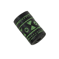 Terra Cotta Bead 10x17mm Tube Black/Green (3-Pcs)