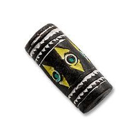 Terra Cotta Bead 10x22mm Tube Black/White/Yellow  (3-Pcs)