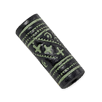 Terra Cotta Bead 10x26mm Tube Black/Green (3-Pcs)