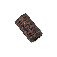 Terra Cotta Bead 9x15mm Tube Black/Orange (3-Pcs)