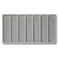 Standard Size 1x7 Grey Flocked Tray Insert