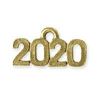 2020 Charm 16x9mm Antique Gold Plated Pewter (1-Pc)
