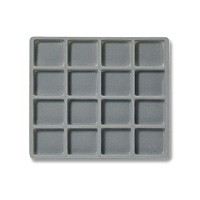 Half Size 4x4 Grey Flocked Tray Insert
