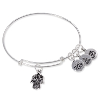 Adjustable Charm Bangle Bracelet Sterling Silver with 4 Free Sterling Silver Jump Rings