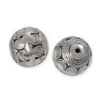 Bali Style Coil Bead 18mm Pewter Antique Silver Plated (1-Pc)