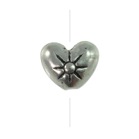 7x8mm Pewter Sunburst Heart Bead  (1-Pc)