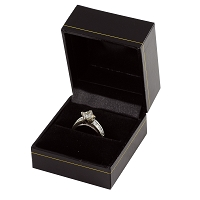 Cartier Style Ring Box Black Leatherette