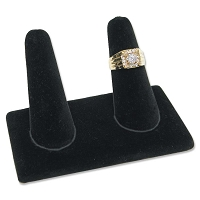Double Ring Finger Jewelry Display - Black