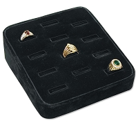 Black Ring Jewelry Display Tray - 12 Rings