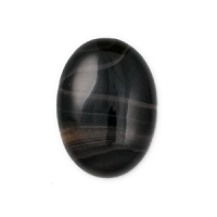 Black Banded Agate Oval Cabochon 25x18mm