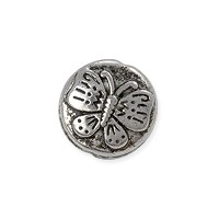 Butterfly Bead 12x5mm Pewter Antique Silver Plated (1-Pc)