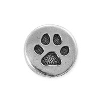 TierraCast Small Paw Button 12x5mm Antique Silver Plated (1-Pc)