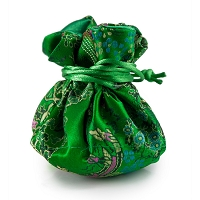 Brocade Cinch Pouch Large Green