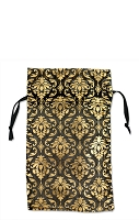 Organza Bag Small Black with Gold Damask Pattern (12-Pcs)