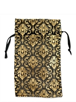 Organza Bag Medium Black with Gold Damask Pattern (12-Pcs)