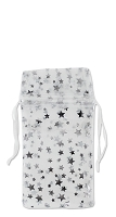 Small Organza White Pouch with Silver Stars (12-Pcs)