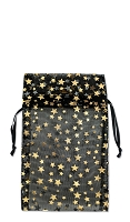 Smalll Organza Black Pouch with Gold Stars (12-Pcs)