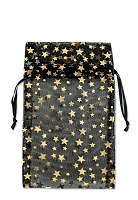 Medium Organza Black Pouch with Gold Stars (12-Pcs)