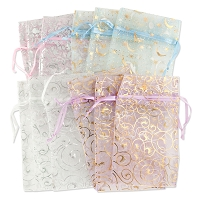 Organza Pouch Large Pattern Mix (12-Pcs)