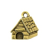 TierraCast Dog House Charm - 15mm Antique Gold Plated (1-Pc)