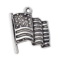 USA Flag Patriotic Charm 21x18mm Pewter Silver Plated (1-Pc)