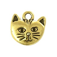 TierraCast Whiskers Charm 14mm Antique Gold Plated (1-Pc)