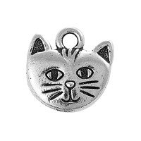 TierraCast Whiskers Charm 14mm Antique Silver Plated (1-Pc)