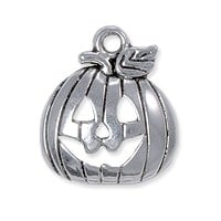 Pumpkin Charm 18x15mm Pewter Antique Silver Plated (1-Pc)