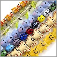 Colorful Critter Lampwork Beads 13-16mm (Bulk Pack of 6 Strands)