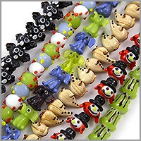Colorful Critter Lampwork Beads 11-20mm (Bulk Pack of 6 Strands)