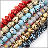 6 Strands of Large Hole Lampwork Critter Glass Beads with Grommets 9-13mm (120-Pcs)