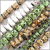6 Strands of Large Hole Lampwork Critter Glass Beads with Grommets 11-15mm (120-Pcs)