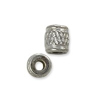 Cross Hatch Tube Bead 5.5x4.5mm Nickel Silver (10-Pcs)