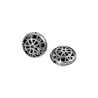 Dharma Wheel Puffed Disc 17mm Pewter (1-Pc)