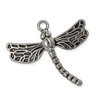 Charm - Dragonfly 26x29mm Pewter Antique Silver Plated (1-Pc)