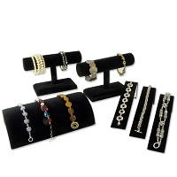 Jewelry Display Assortment for Bracelets Black Velvet (6-Piece)