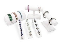 Jewelry Display Assortment for Bracelets White Leatherette (6-Piece)