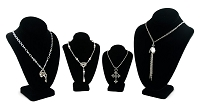 Black Velvet Necklace Display Bust Kit (4-Piece)