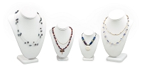 White Leatherette Necklace Display Bust Kit (4-Piece)