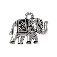 Charm - Elephant 16x12mm Pewter Antique Silver Plated (1-Pc)