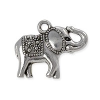 Charm - Elephant 22x12mm Pewter Antique Silver Plated (1-Pc)